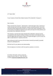 thumbnail of Letter to Investors 31 March 2020