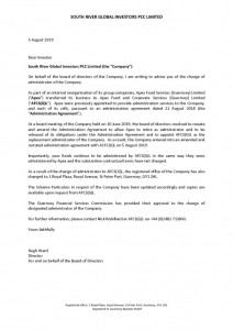 thumbnail of LETTER_ To Investors of South River Global Investors PCC Limited regarding change of administrator